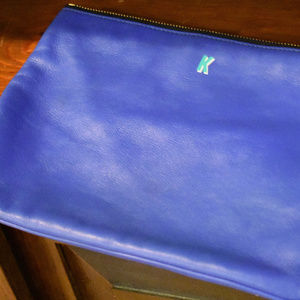 cobalt blue leather purse